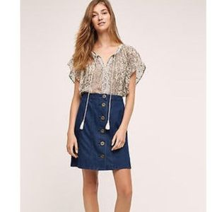 Anthropologie Pilcro Button Up Jean Skirt